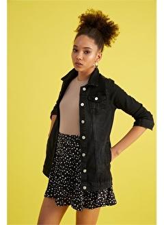 Z GİYİM Kadın Siyah Yıpratmalı Yıkamalı Slimfit Kot Ceket